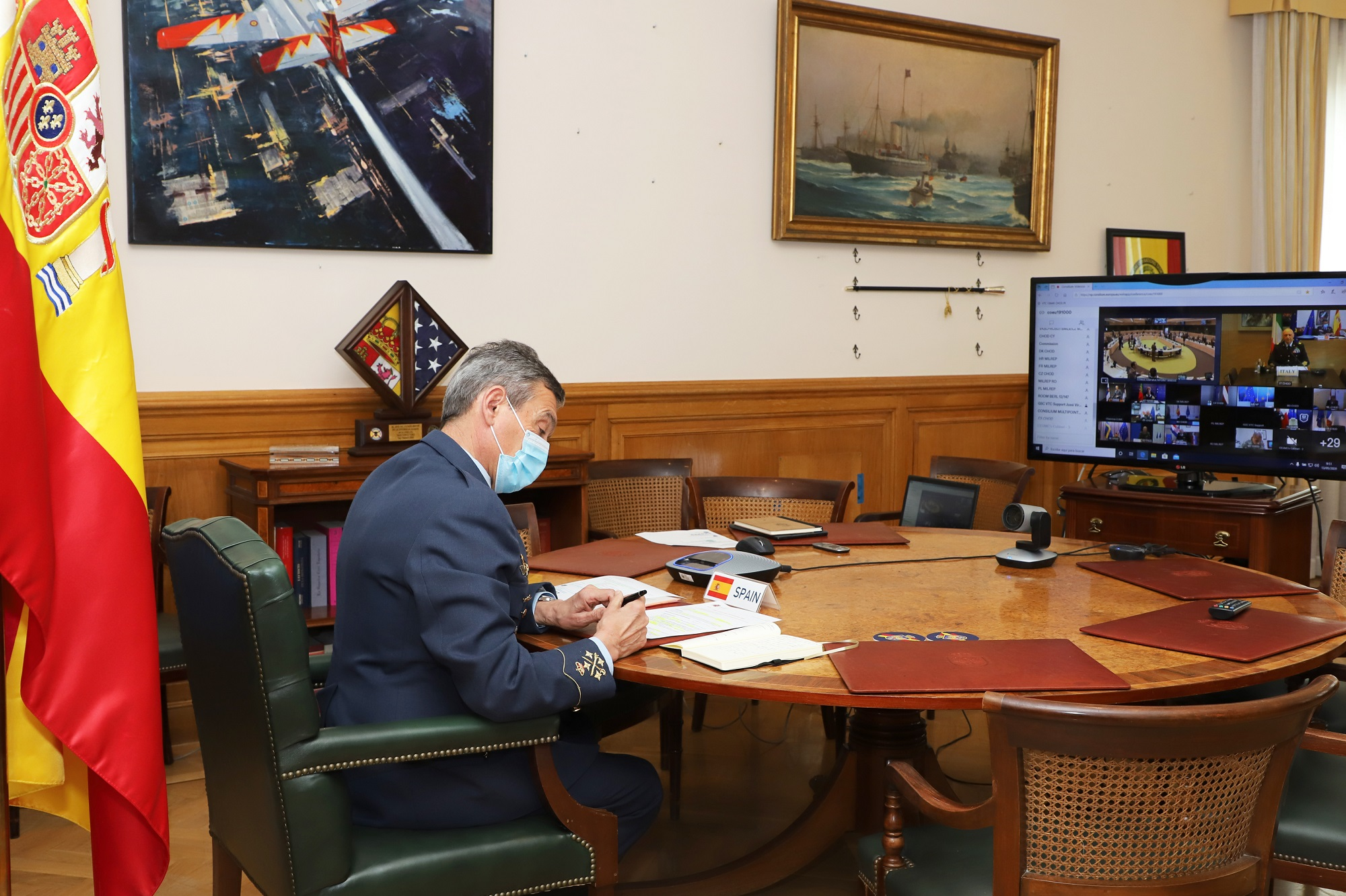 General Villarroya holds a videoconference with NATO and EU Military Committees