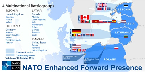 NATO's eFP deployment map