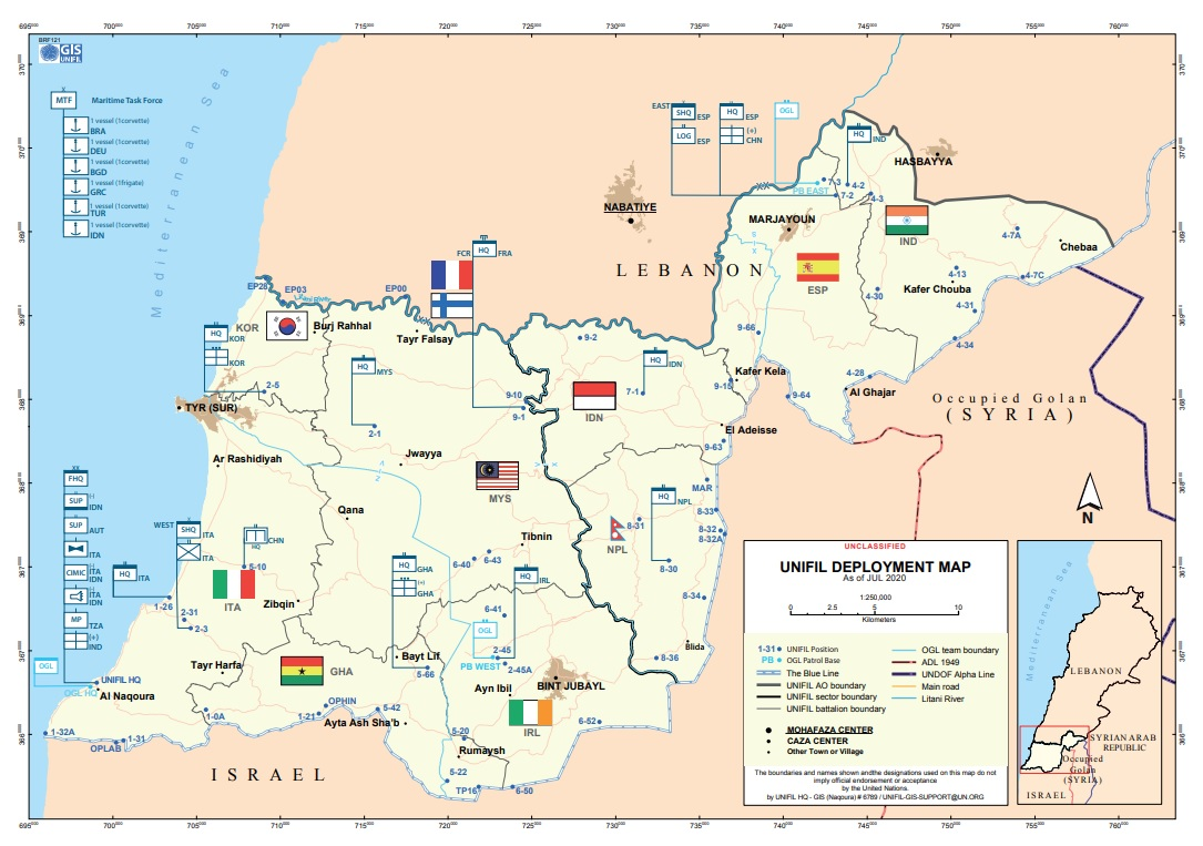 UNIFIL DEPLOYMENT MAP