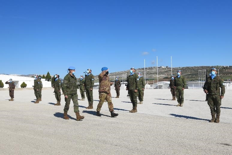 UNIFIL's Force Commander reviewing the troops