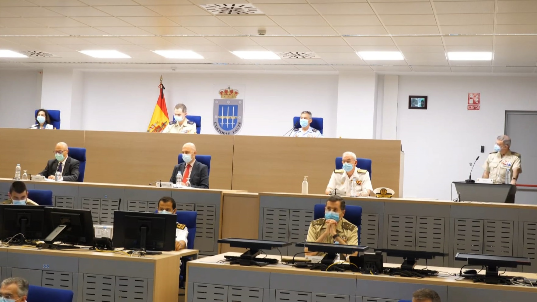 King Felipe VI holds a videoconference to congratulate Spanish troops deployed overseas and those participating in national soil